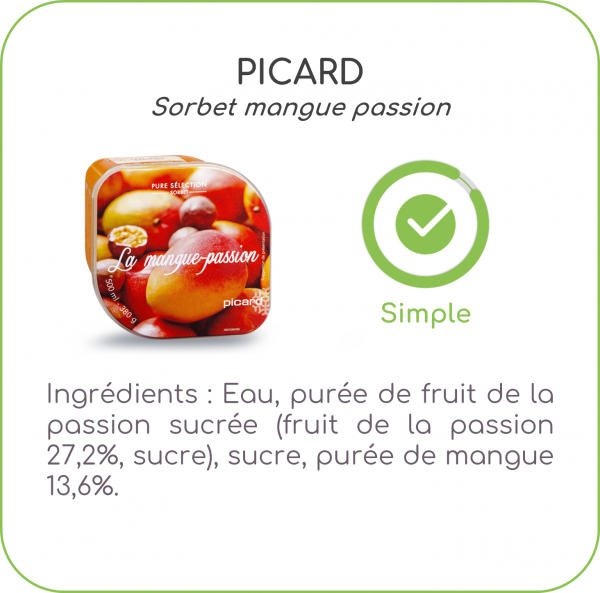 sorbets, application, scanup, degré de transformation, transformation, scan, scan de produits