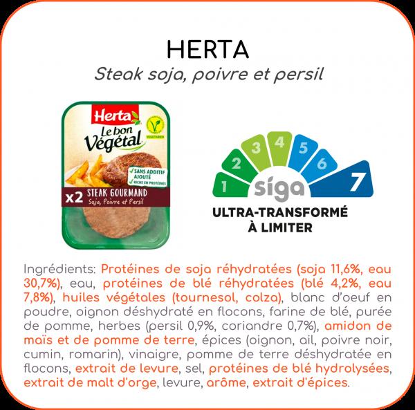 herta, alternative, végétale, steak, végétal, application, scanup, degré de transformation, transformation, scan, scan de produits