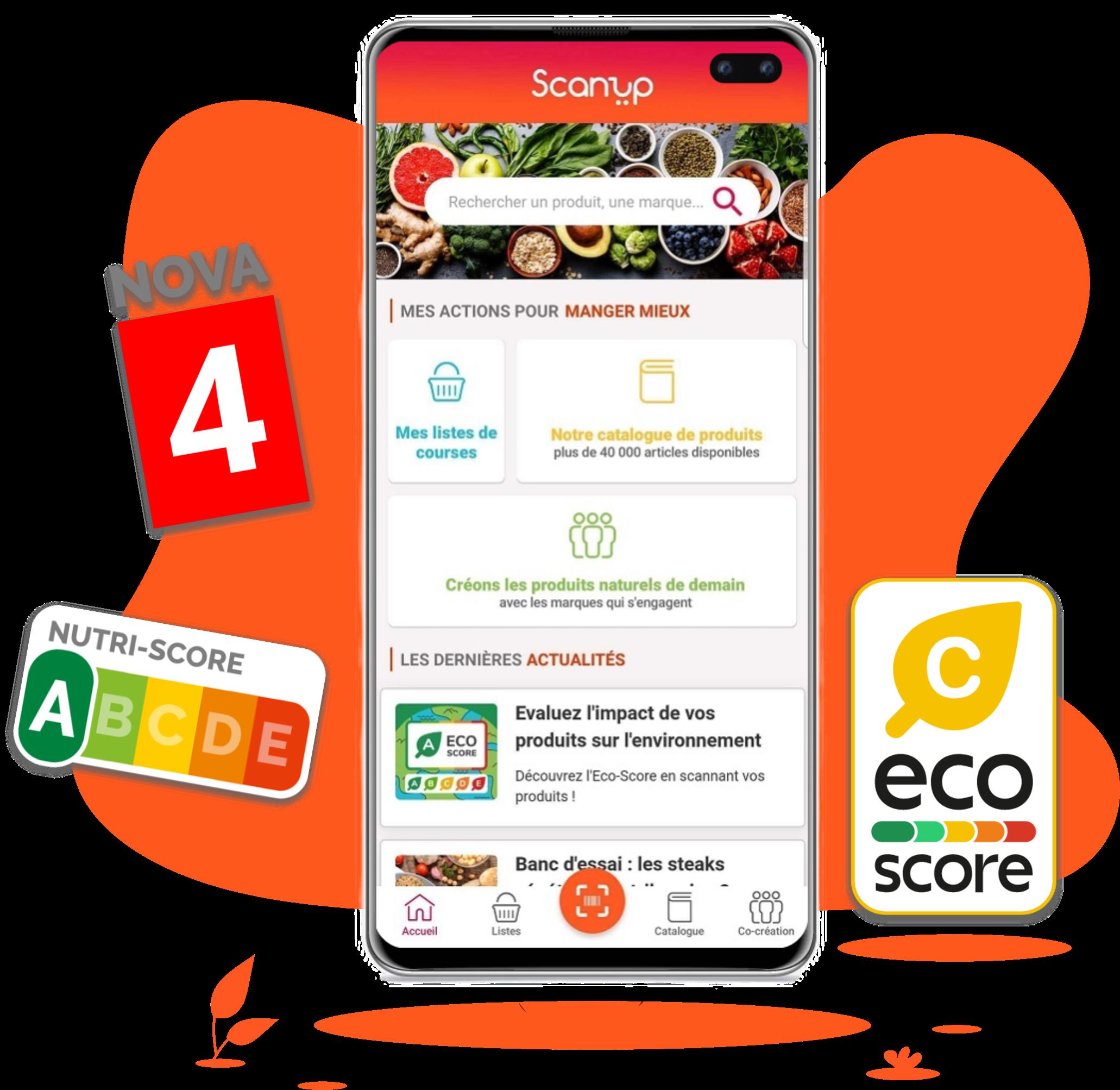 scanup, scan, produits, transformation, nutrition, nutriscore, ecoscore, nova, cocréation, consommateurs